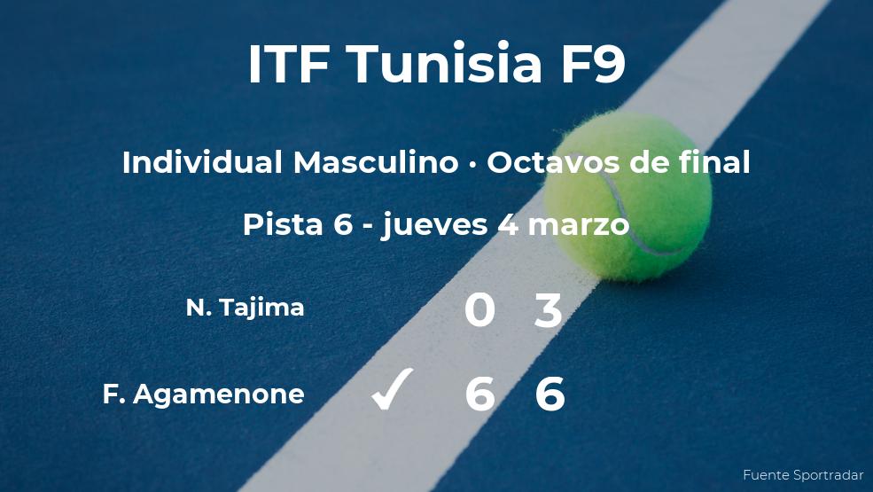 Franco Agamenone consigue clasificarse para los cuartos de final a costa de Naoki Tajima
