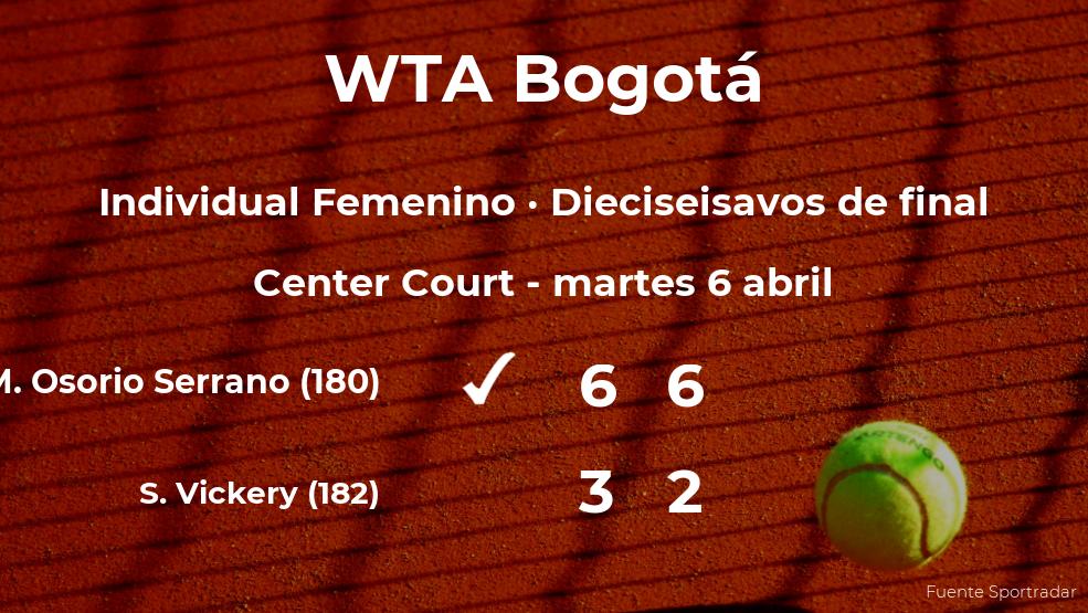 Maria Camila Osorio Serrano logra clasificarse para los octavos de final a costa de la tenista Sachia Vickery