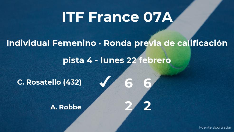Victoria de la tenista Camilla Rosatello en la ronda previa de calificación
