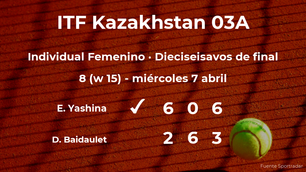 La tenista Ekaterina Yashina, clasificada para los octavos de final del torneo de Shymkent