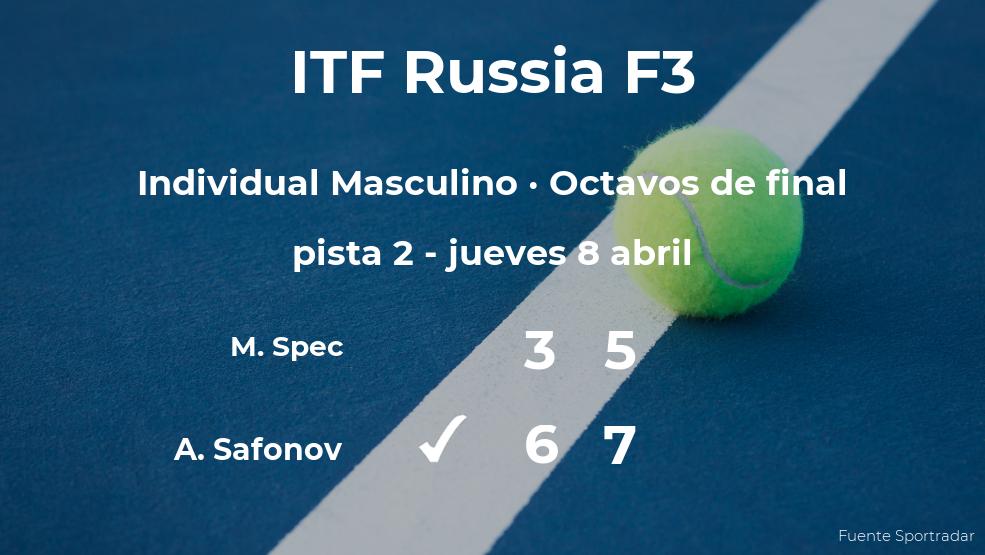 Sorpresa en el torneo ITF Russia F3: Matic Spec, eliminado tras perder en los octavos de final